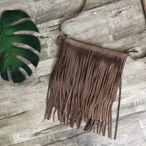 Chico's Light Brown Suede Fringe Crossbody Purse